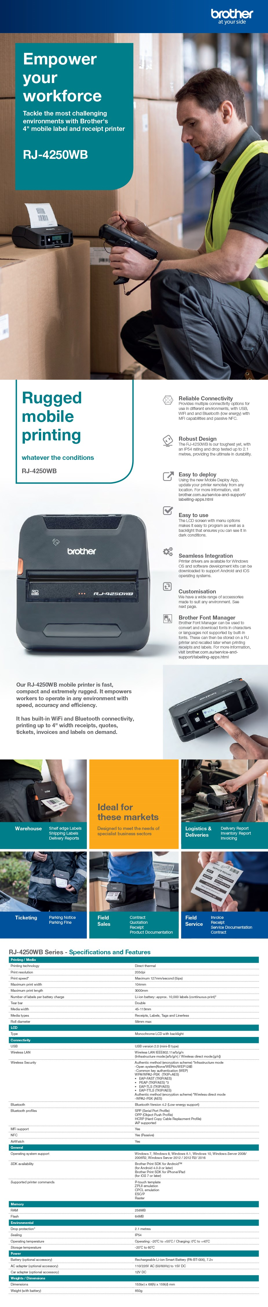Brother RJ-4250B-Bundle-Pack 102mm Mobile Wireless Receipt/Label Printer - Overview 1