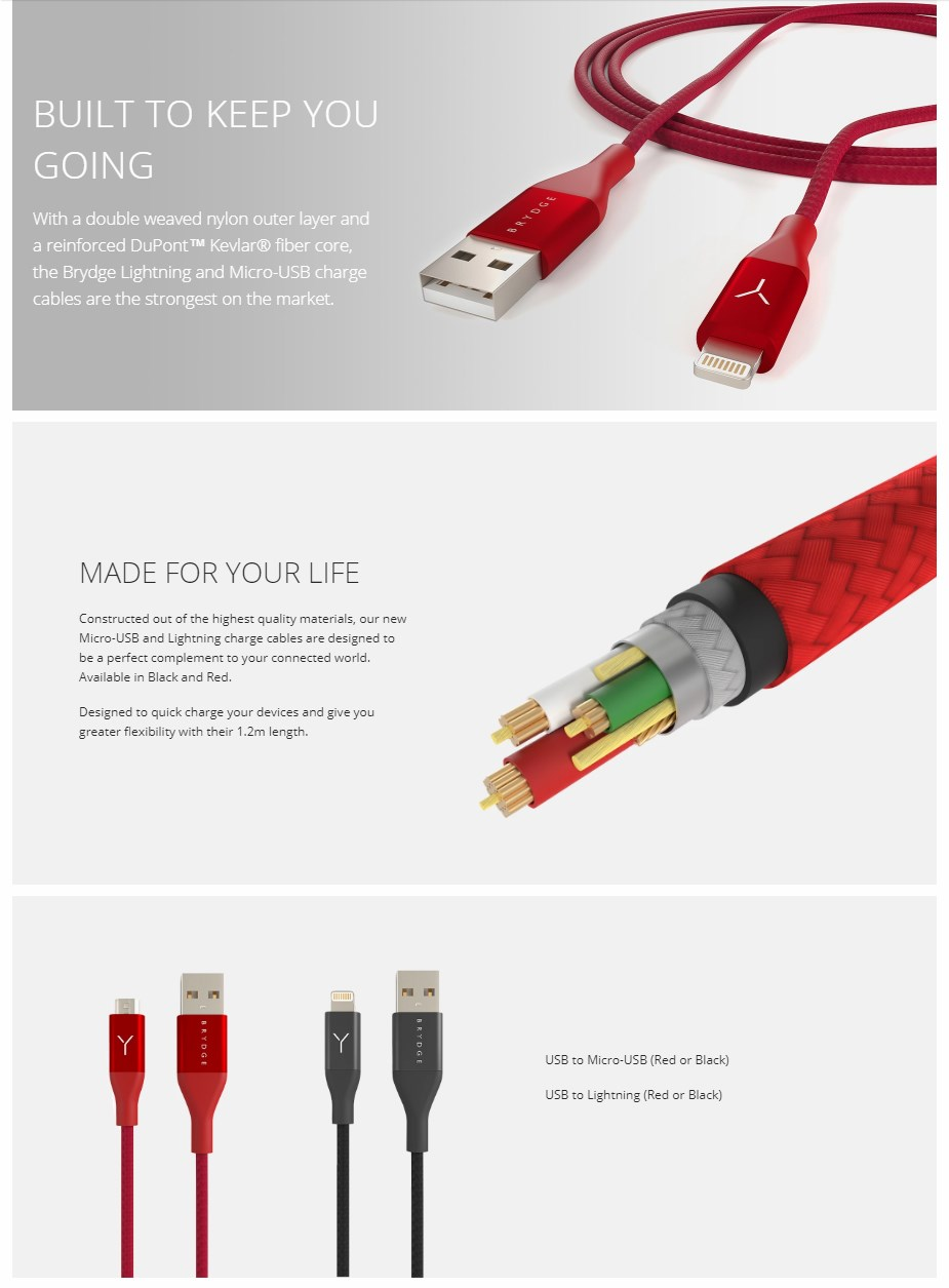 Brydge 1.2M Lightning to USB Cable - Black - Overview 1