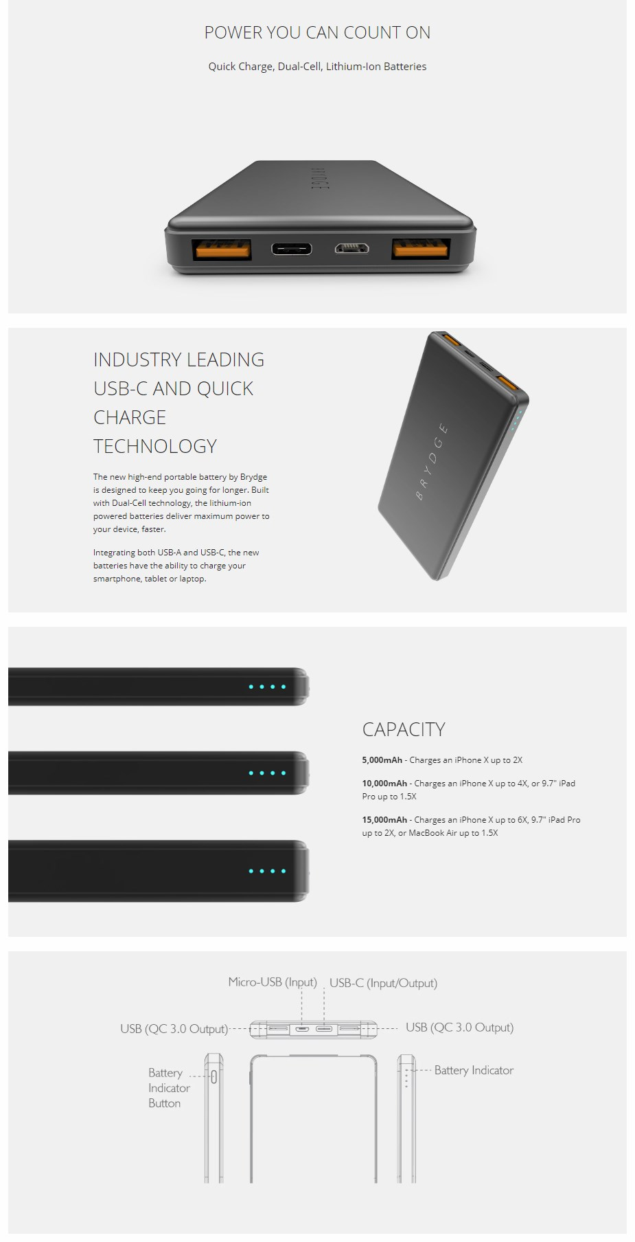 Brydge 10,000 mAh USB/USB-C Portable Power Bank - Overview 1