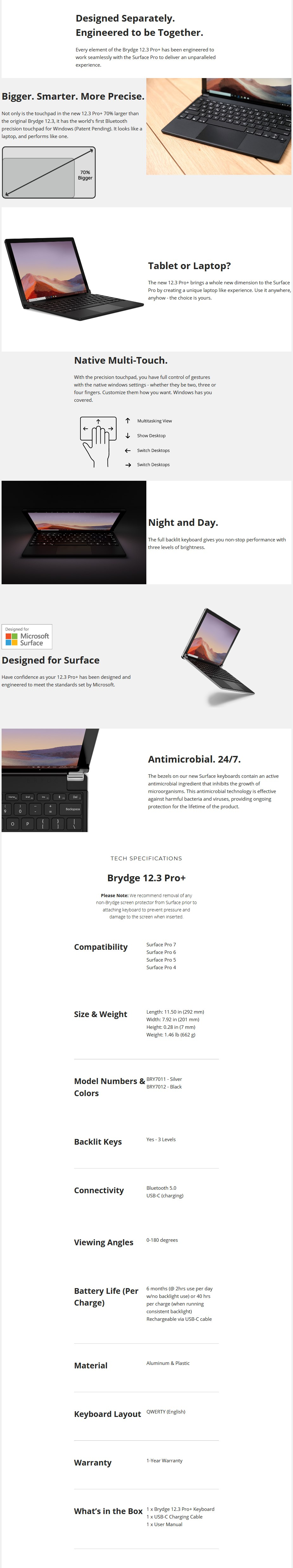 Brydge Pro Plus 12.3 Bluetooth Keyboard with Touchpad For Surface Pro - Silver - Overview 1