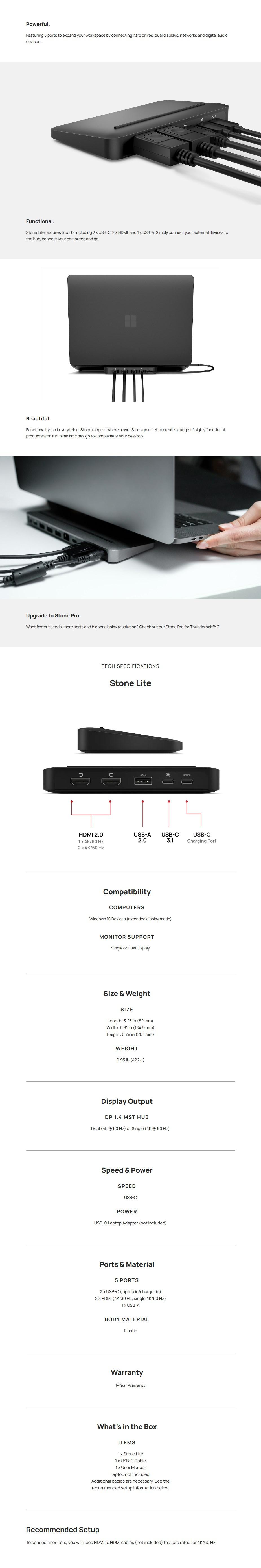 Brydge Stone Lite USB-C Multi-Port Laptop/Desktop Hub - For Windows - Overview 1