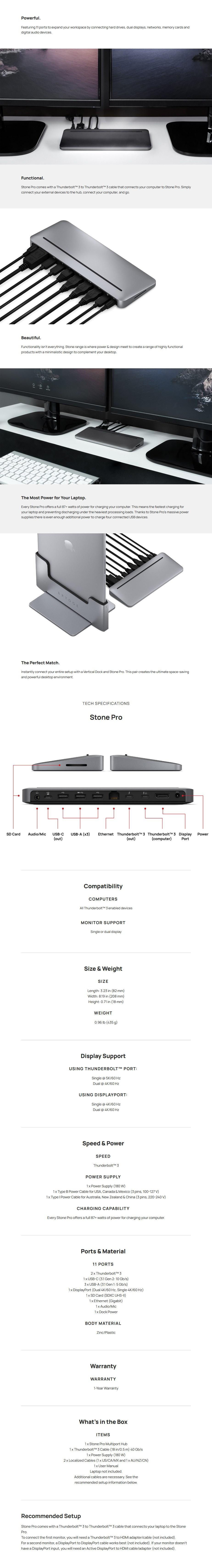 Brydge Stone Pro Thunderbolt 3 Multi-Port Desktop Hub - For Mac and Windows - Overview 1