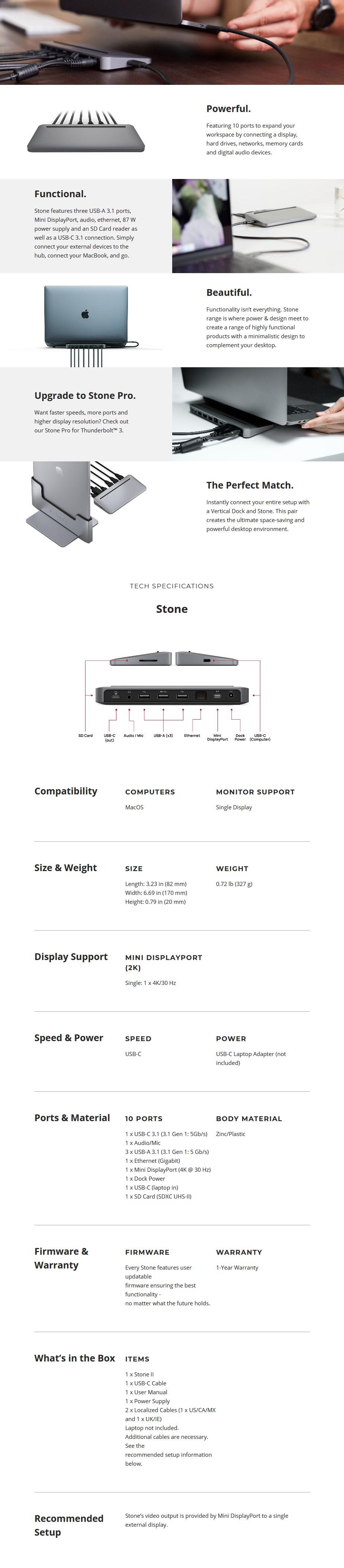 Brydge Stone USB-C Multi-Port Desktop Hub - For Apple MacBooks - Overview 1