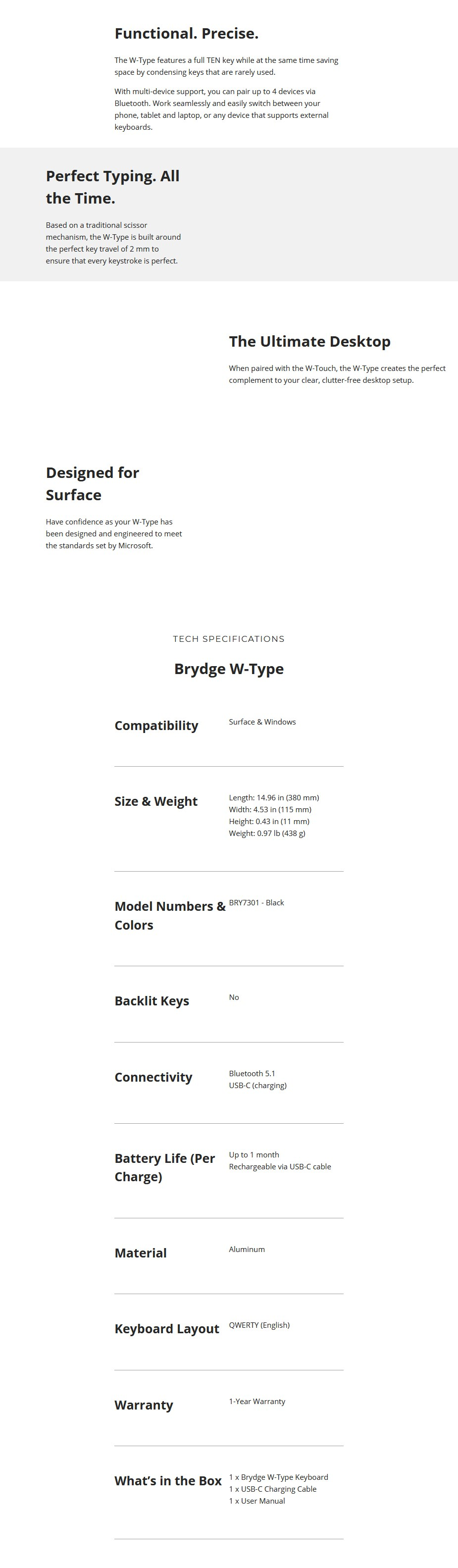 Brydge W-Type Bluetooth Wireless Keyboard For Windows - Black - Overview 1