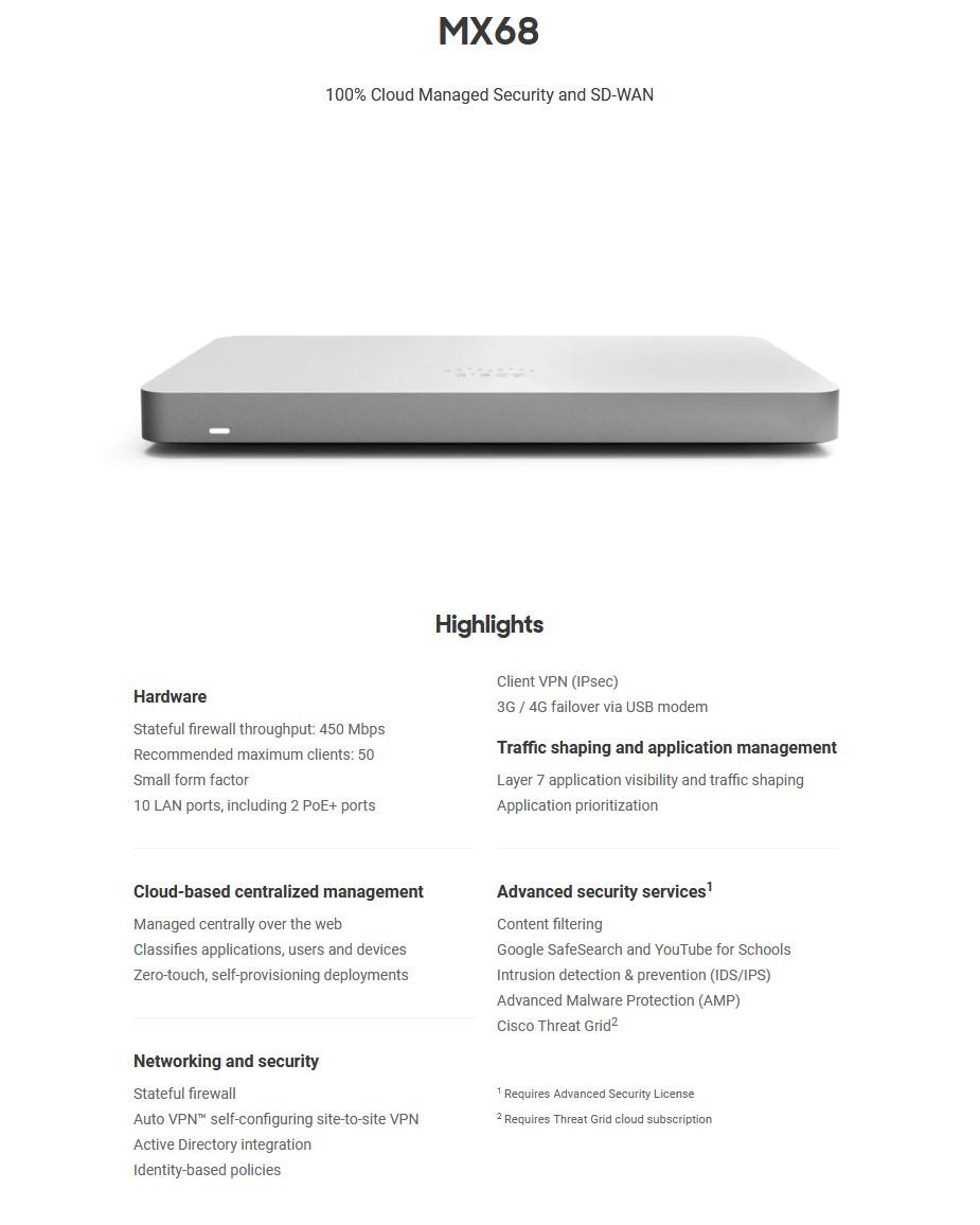 Cisco Meraki MX68 3 Years Enterprise License & Support - Digital Download - Overview 1