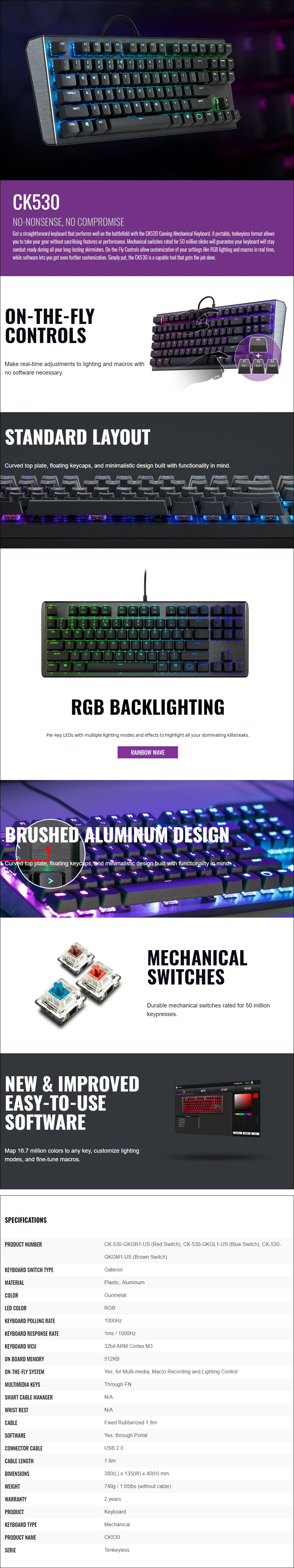 Cooler Master CK530 RGB TKL Mechanical Gaming Keyboard - Gateron Blue - Overview 1
