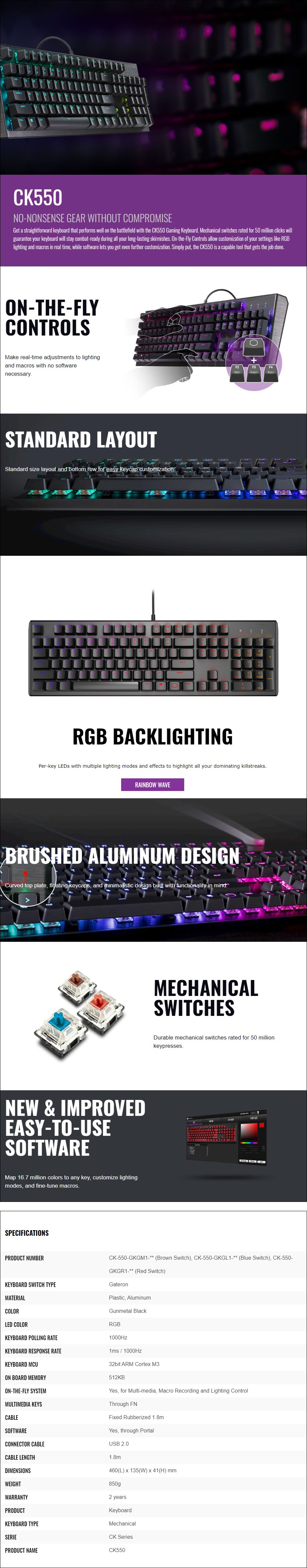 Cooler Master CK550 RGB Mechanical Gaming Keyboard - Gateron Blue - Overview 1