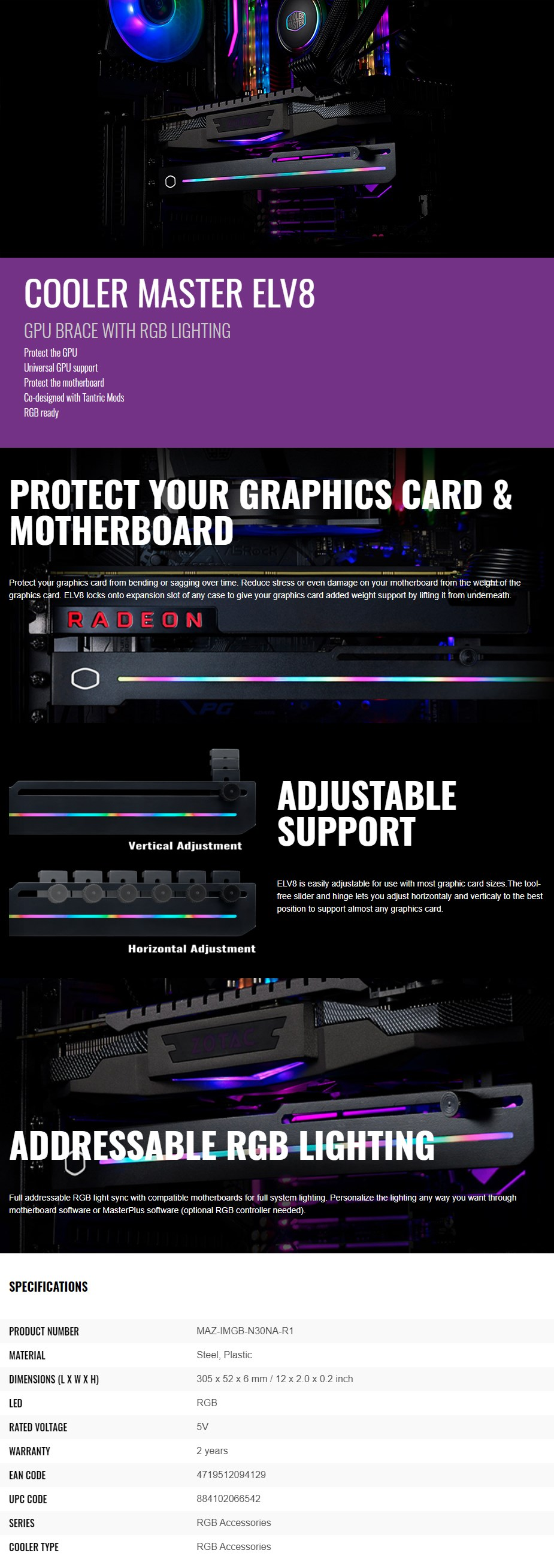 Cooler Master ELV8 GPU Brace with RGB Lighting - Overview 1