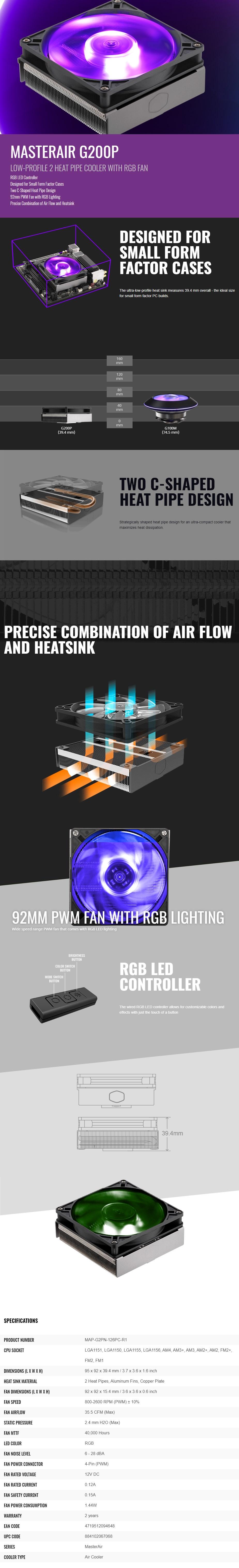 Cooler Master MasterAir G200P RGB CPU Cooler - Overview 1