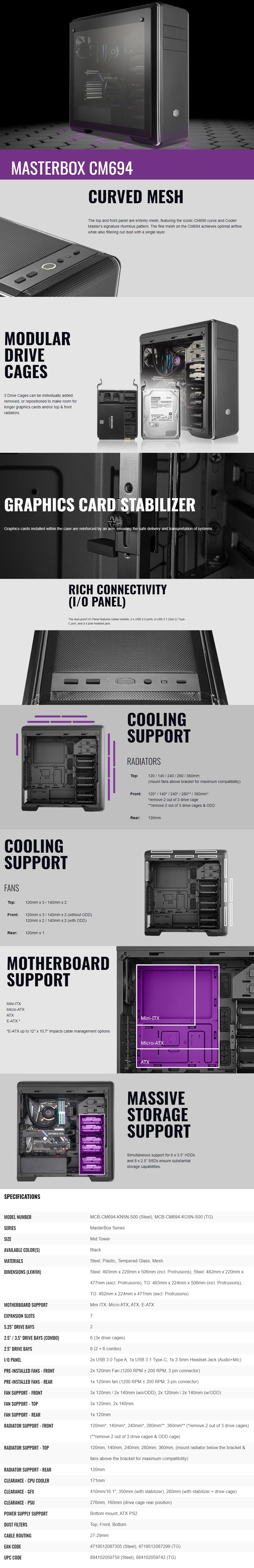 Cooler Master Masterbox CM694 Tempered Glass E-ATX Mid-Tower Case - Black - Overview