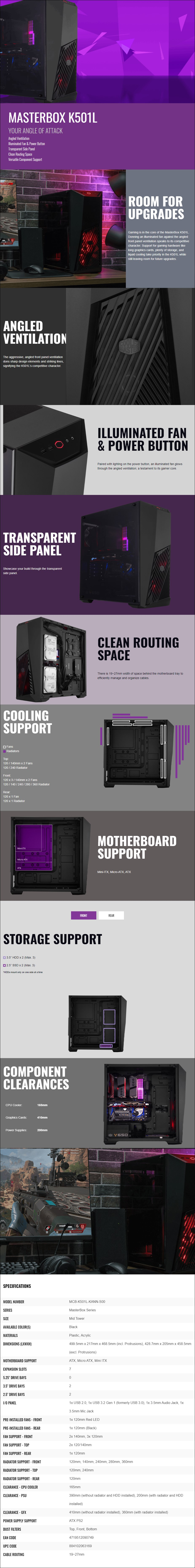 Cooler Master MasterBox K501L Mid-Tower ATX Case - Black - Overview 1