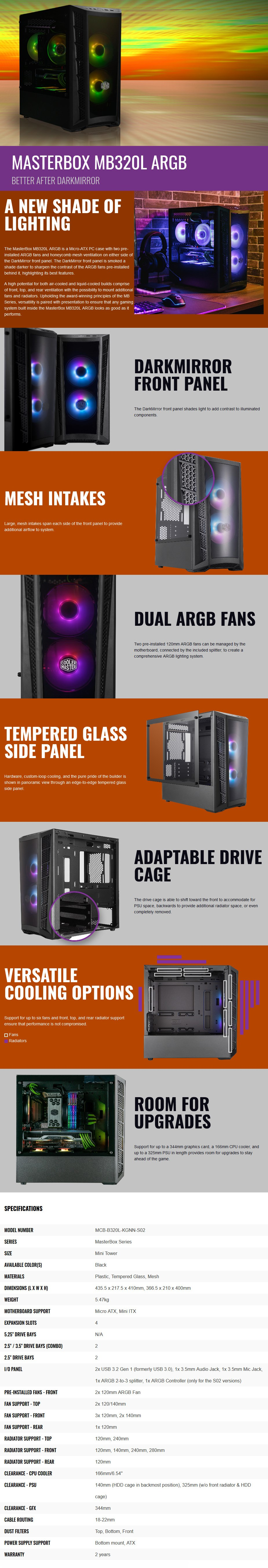 Cooler Master MasterBox MB320L ARGB Tempered Glass Micro-ATX Case - Overview 1