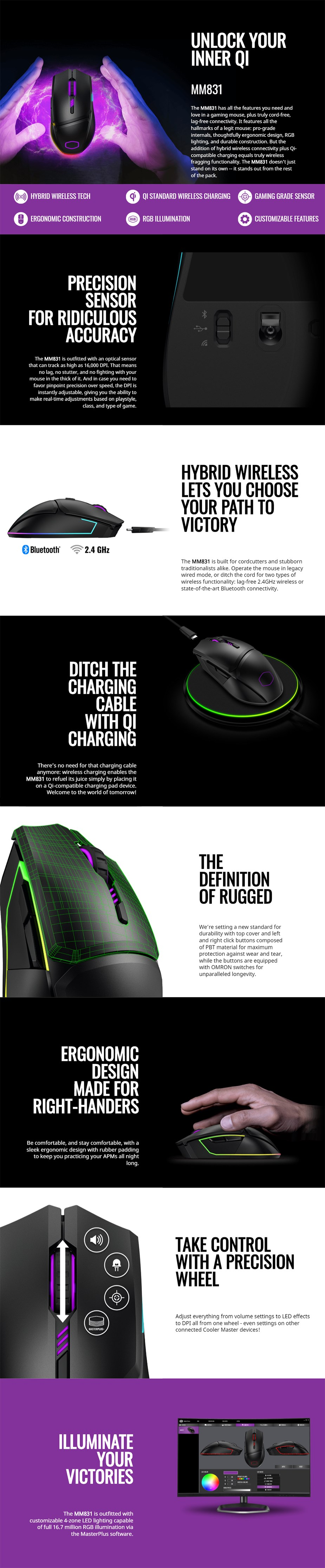 Cooler Master MasterMouse MM831 RGB Wireless Optical Gaming Mouse - Overview 1