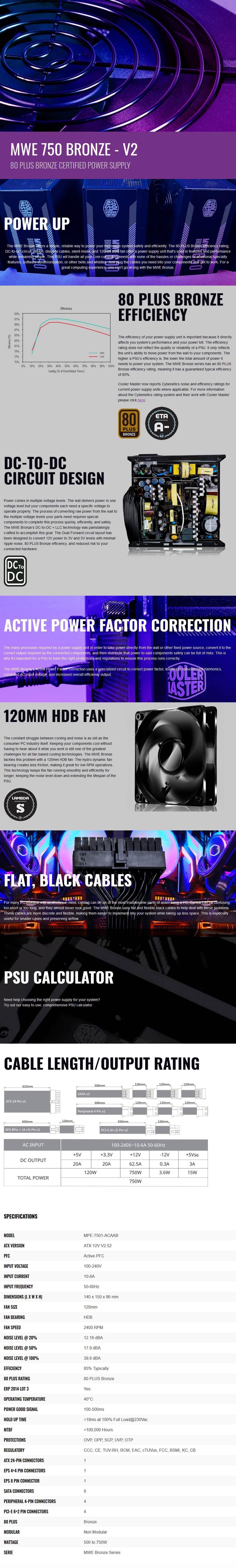 Cooler Master MWE V2 750W 80+ Bronze Non-Modular Power Supply - Overview 1