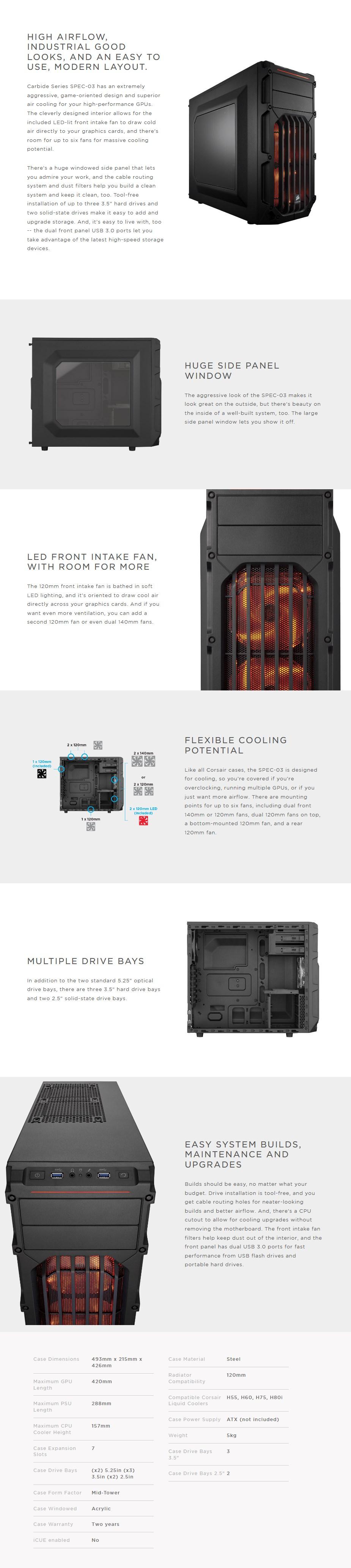 Corsair Carbide SPEC-03 Mid-Tower Case - Orange LED - Overview 1