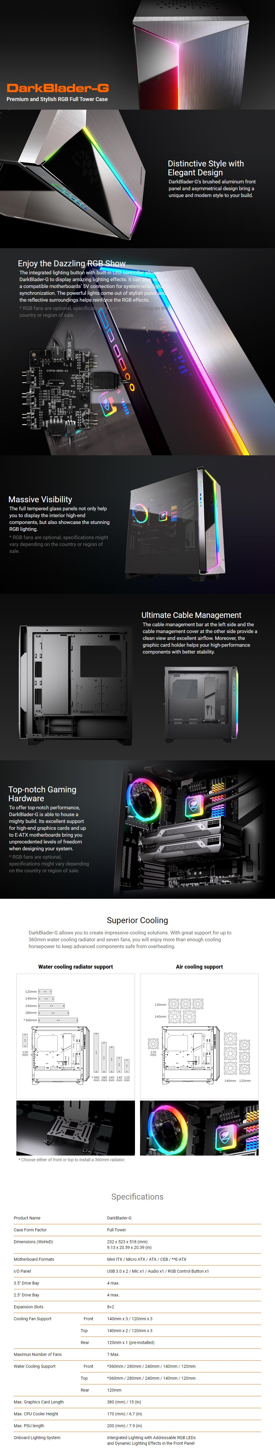 Cougar DarkBlader-G RGB Tempered Glass E-ATX Full-Tower Case - Overview 1