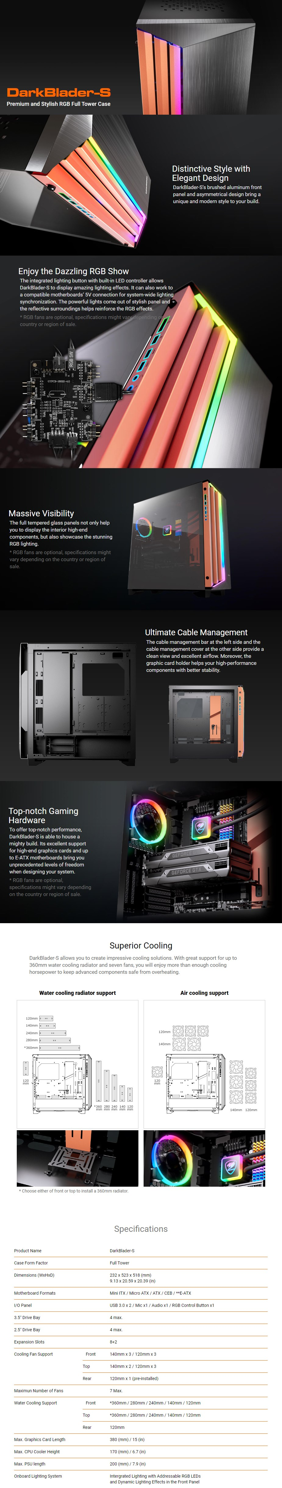 Cougar DarkBlader-S RGB Tempered Glass E-ATX Full-Tower Case  - Overview 1