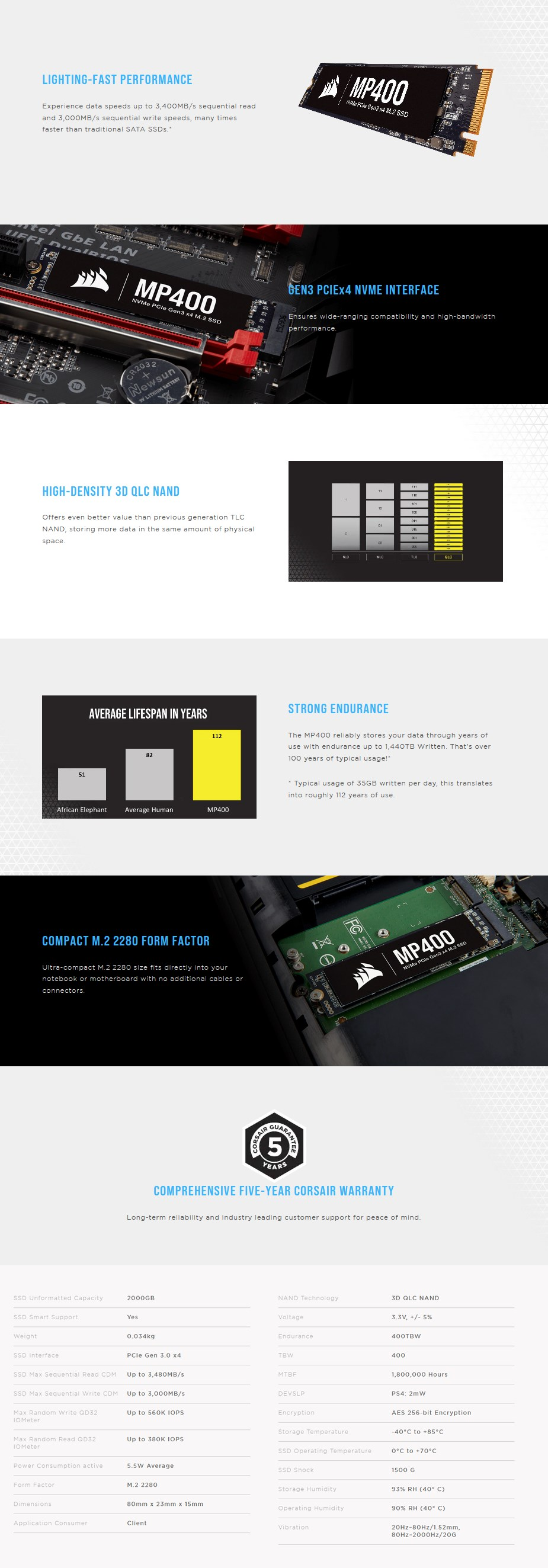 Corsair Force MP400 2TB M.2 NVMe PCIe SSD CSSD-F2000GBMP400 - Overview 1