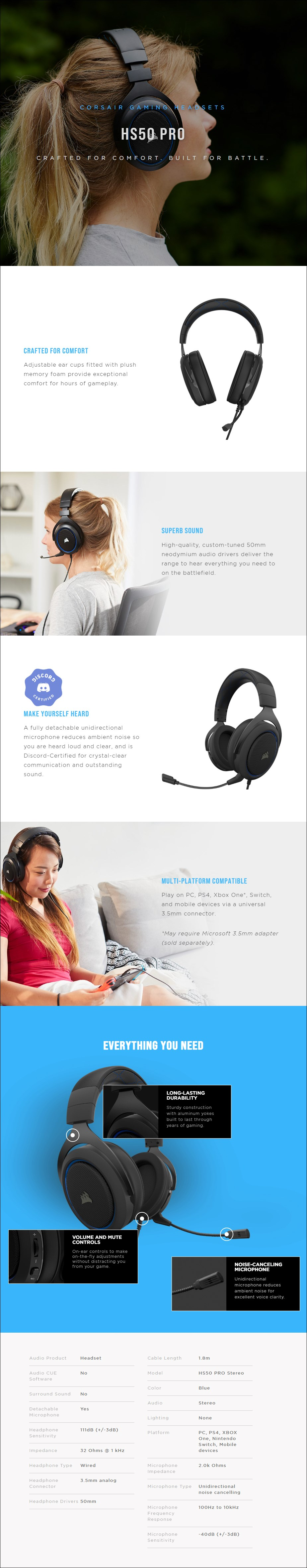 Corsair HS50 PRO Stereo Gaming Headset - Blue - Overview 1