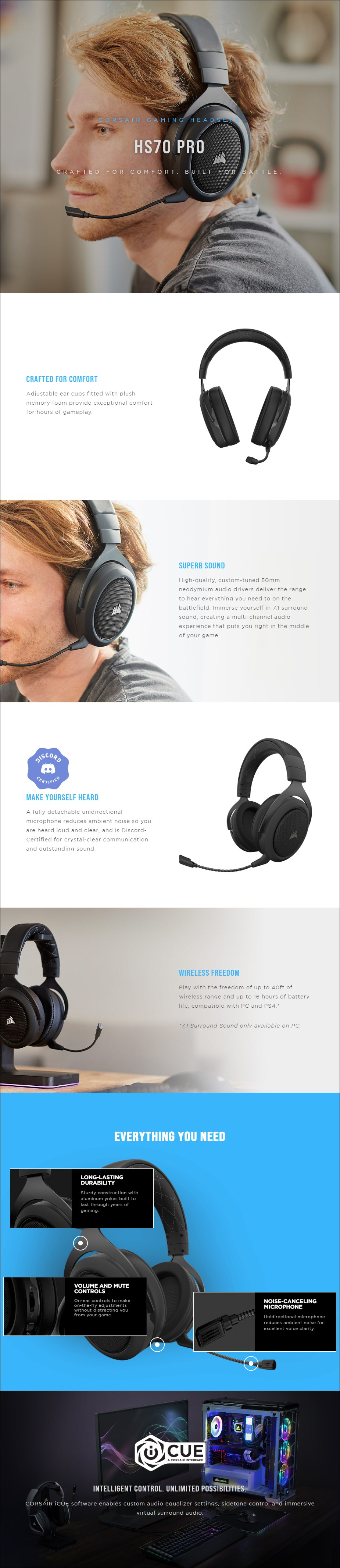 Corsair HS70 PRO 7.1 Surround Wireless Gaming Headset - Carbon - Overview 1