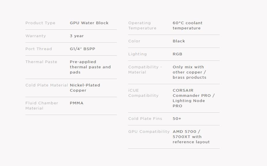Corsair Hydro X Series XG7 RGB 5700 XT GPU Water Block - Overview 2