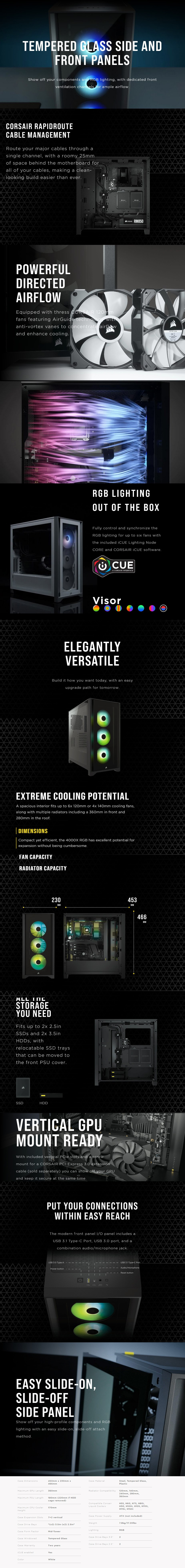 Corsair iCUE 4000X RGB Tempered Glass Mid-Tower ATX - White - Overview 1