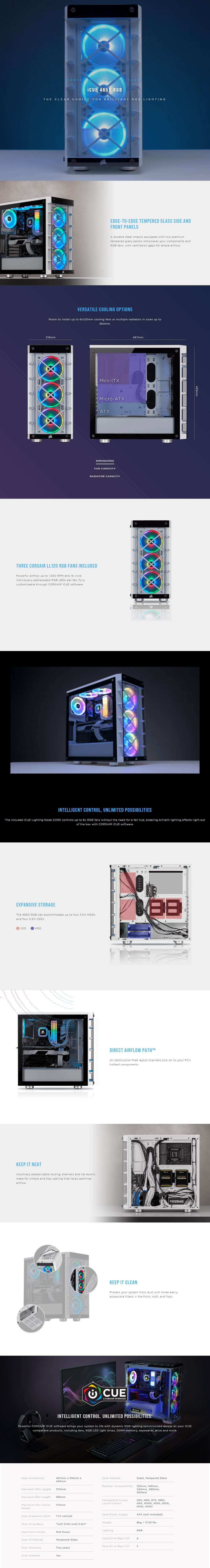 Corsair iCUE 465X RGB Tempered Glass ATX Mid-Tower Case - White - Overview 1