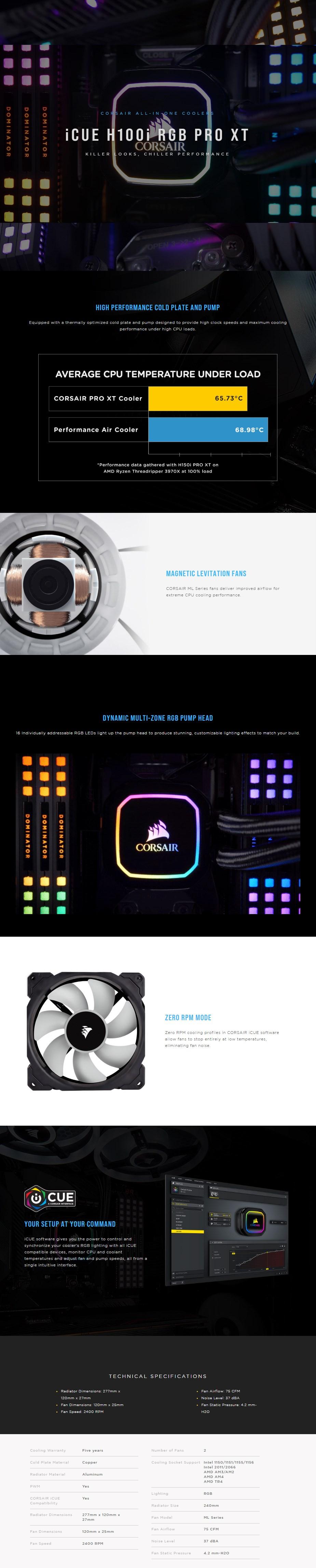 Corsair iCUE H100i RGB PRO XT 240mm Liquid CPU Cooler - Overview 1