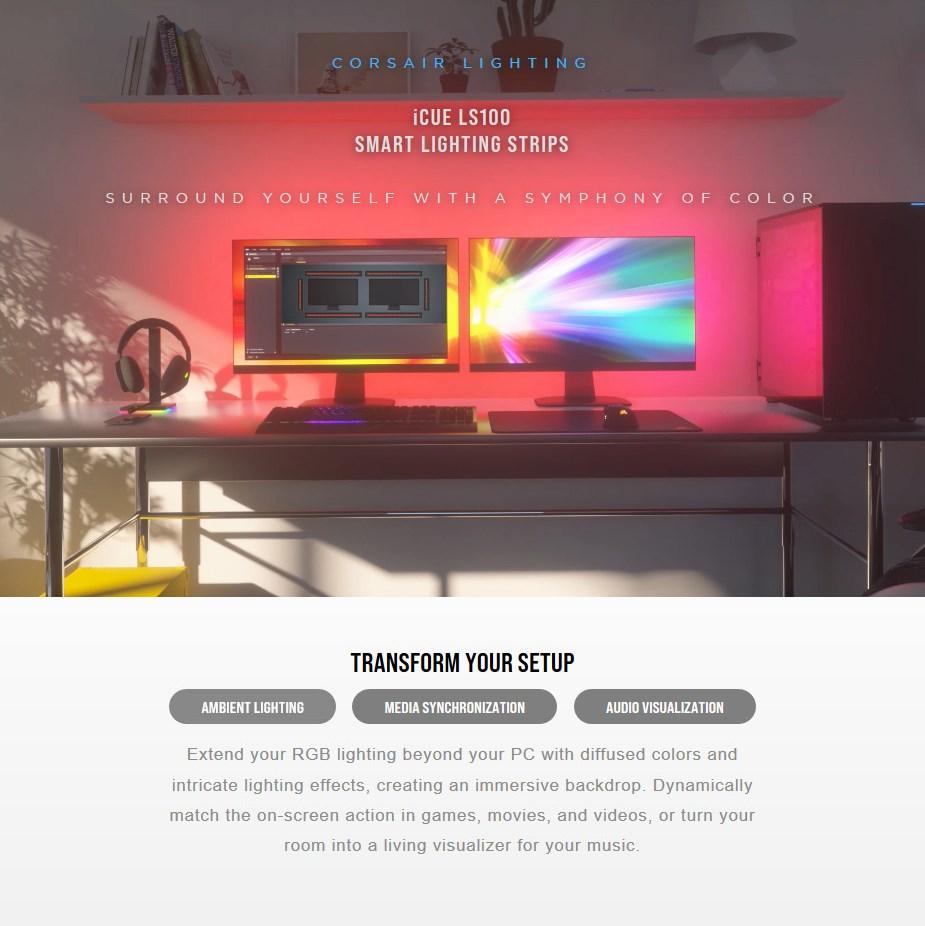 Corsair iCUE LS100 Smart Lighting Strip Start Kit - Overview 1