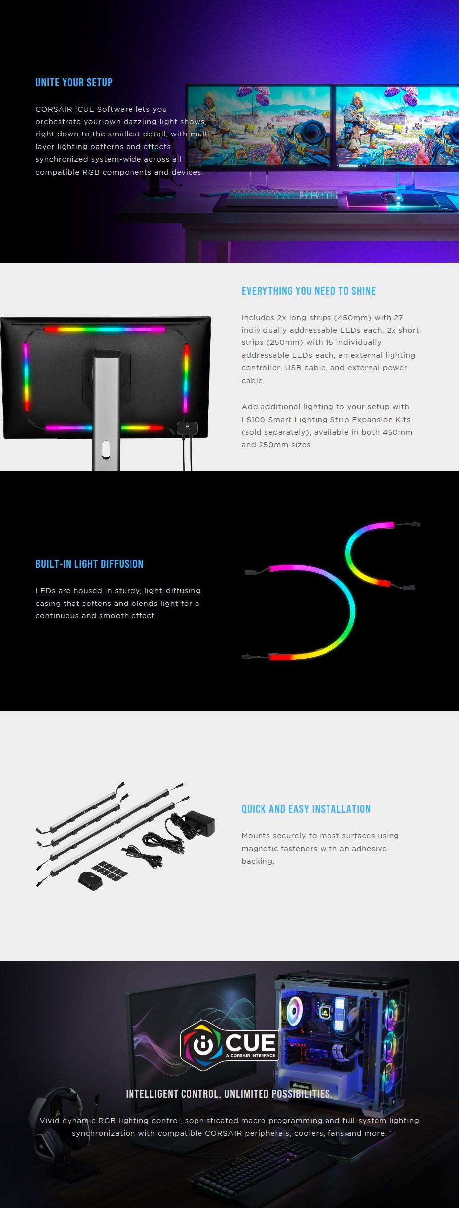 Corsair iCUE LS100 Smart Lighting Strip Start Kit - Overview 4