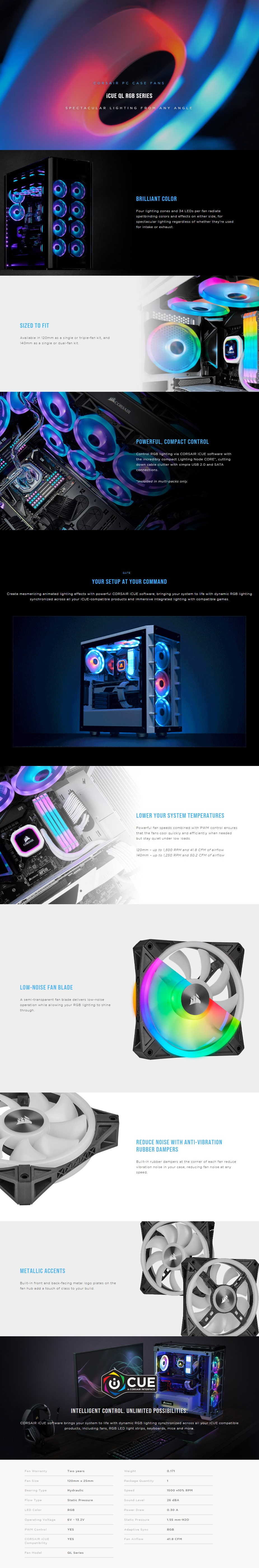 Corsair iCUE QL120 RGB 120mm PWM Fan - Three Pack with Lighting Node CORE - Overview 1