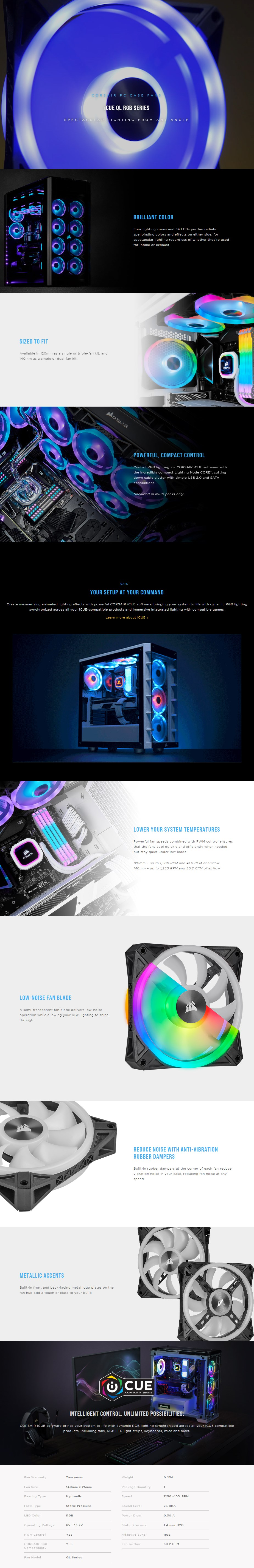 Corsair iCUE QL140 RGB 140mm PWM Fan - Dual Pack with Lighting Node CORE - Overview 1