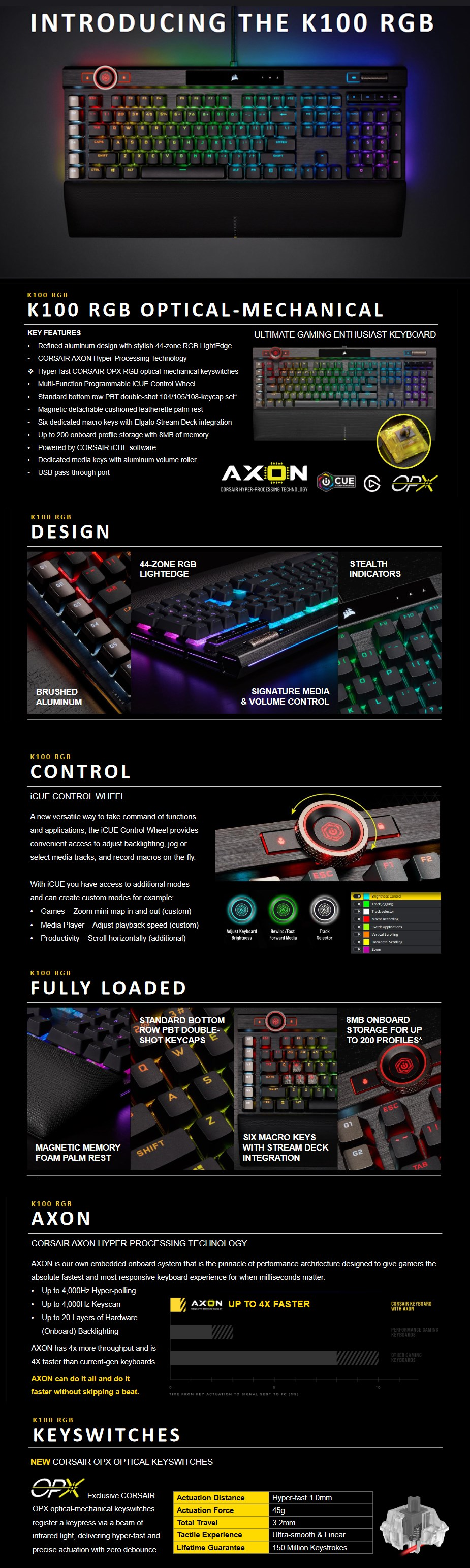 Corsair K100 RGB Optical Mechanical Gaming Keyboard - OPX Switches - Desktop Overview 1