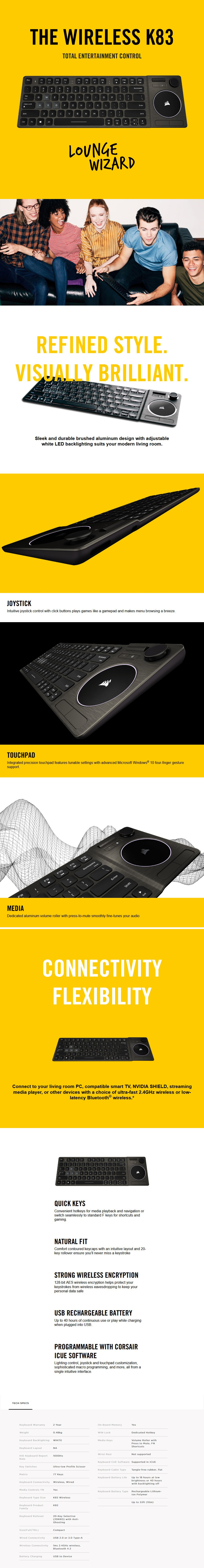 Corsair K83 Compact Wireless Entertainment Keyboard - Overview 1