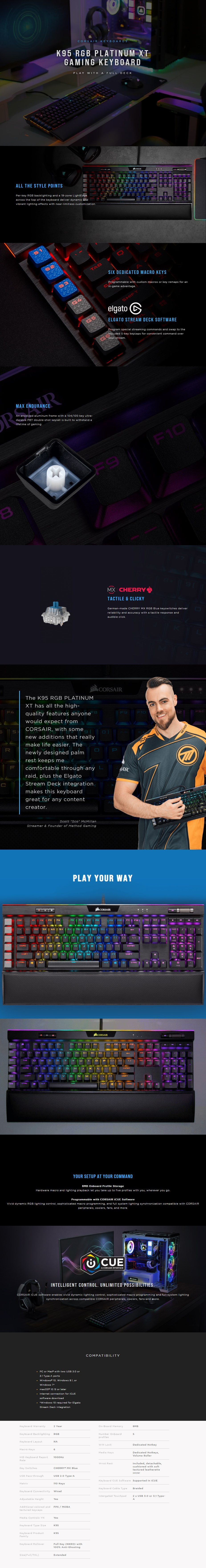 Corsair K95 RGB Platinum XT Mechanical Gaming Keyboard - Cherry MX Blue - Overview 1