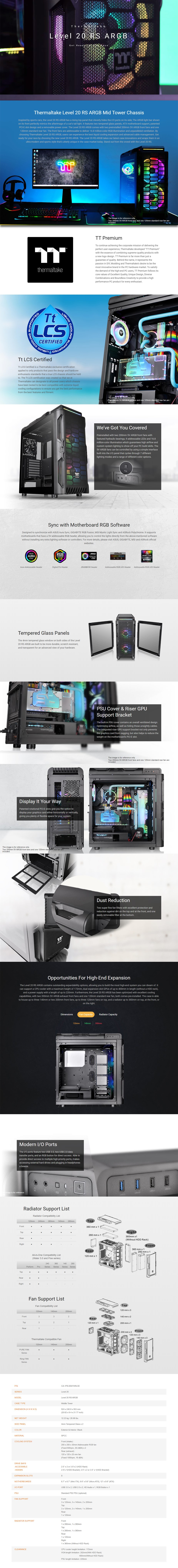 Thermaltake Level 20 RS ARGB Tempered Glass ATX Mid Tower Case - Overview 1