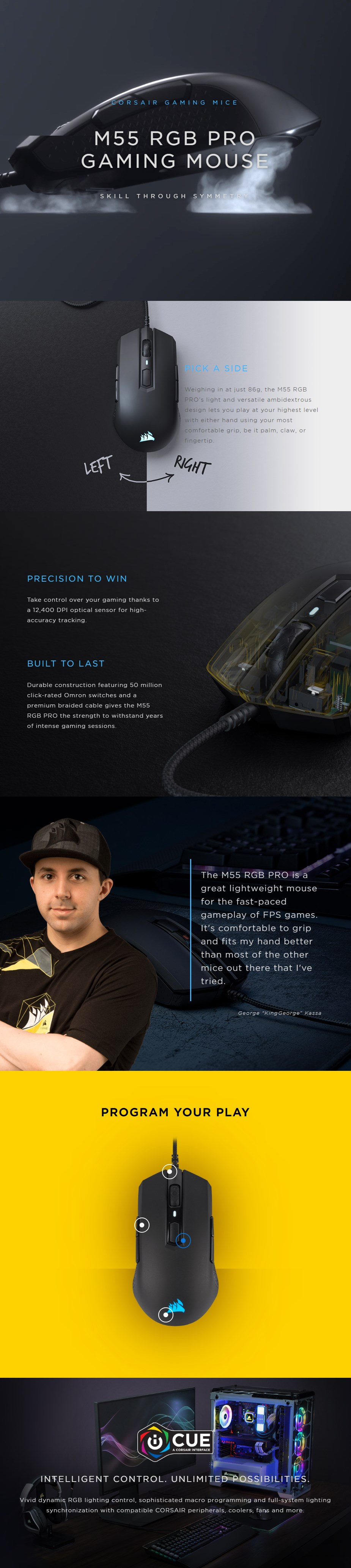 Corsair M55 RGB PRO Optical Gaming Mouse - Overview 1