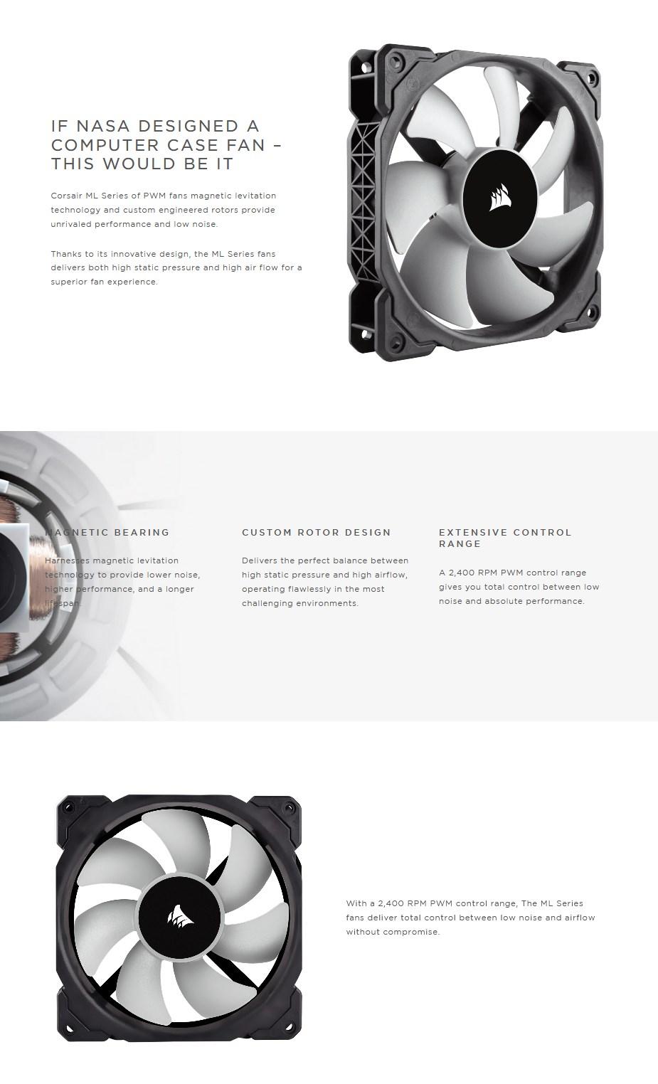Corsair ML120 120mm PWM Premium Magnetic Levitation Fan - Overview 1