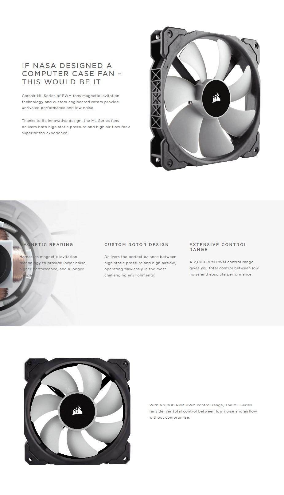 Corsair ML140 140mm PWM Premium Magnetic Levitation Fan — Single Pack - Overview 1