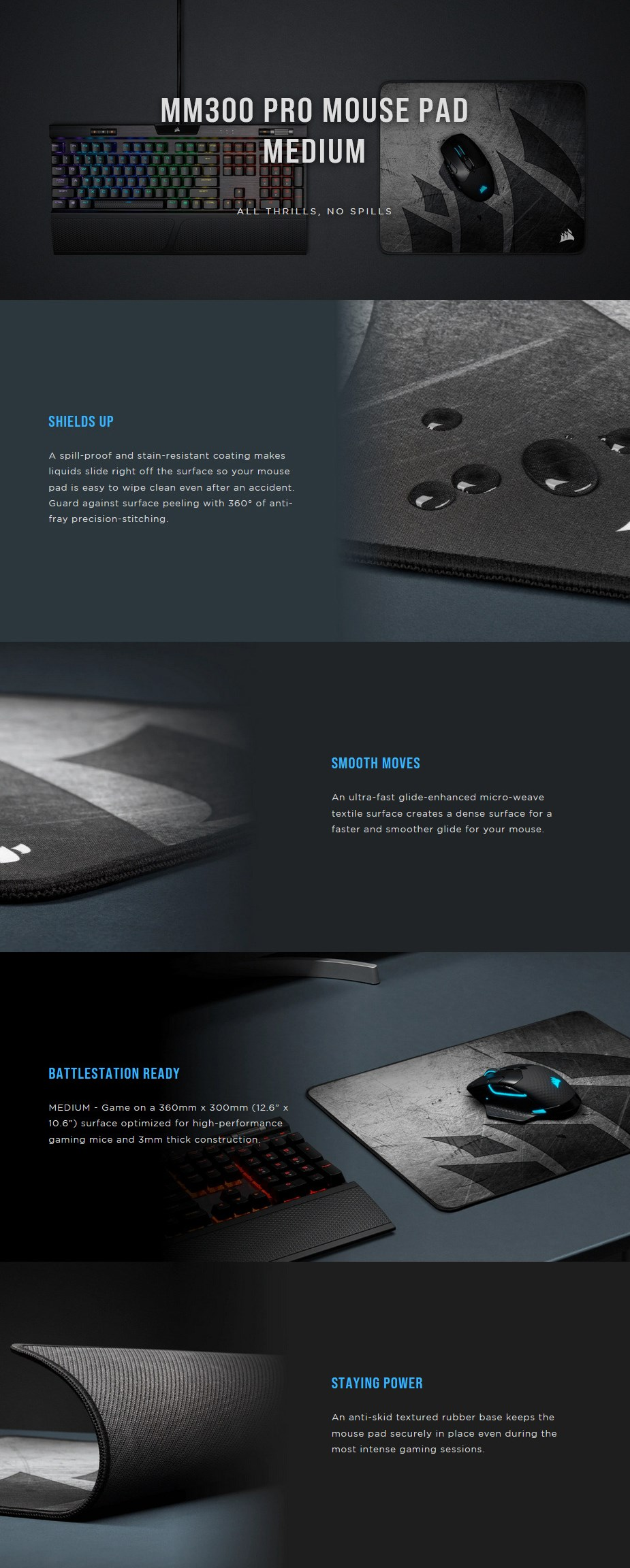 Corsair MM300 PRO Cloth Gaming Mouse Pad - Medium - Overview 1