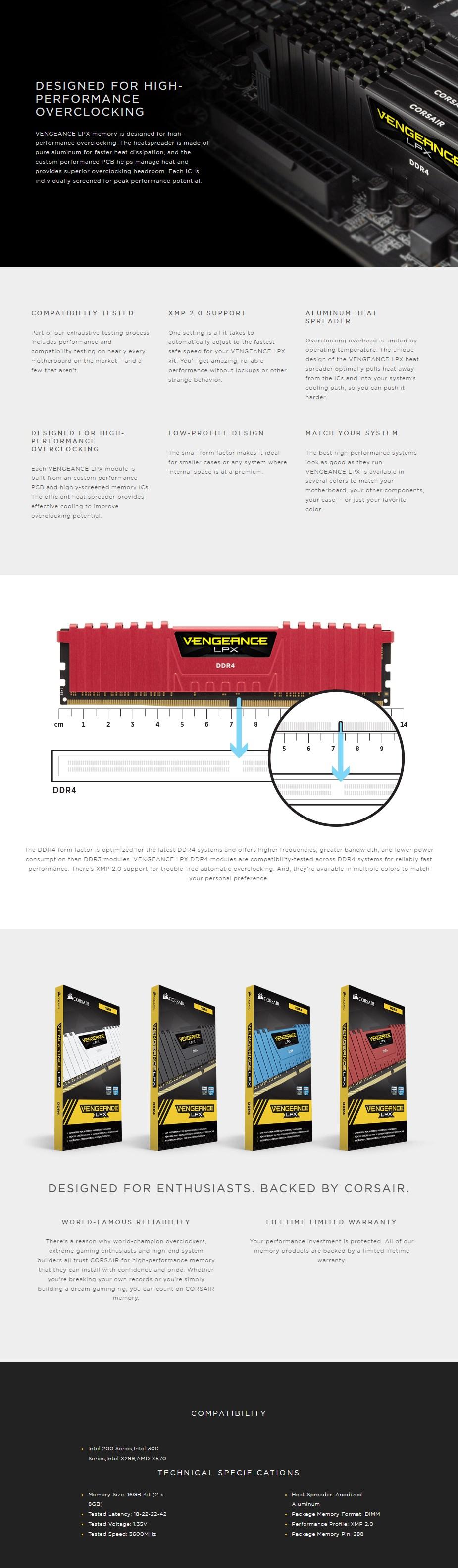 Corsair Vengeance LPX 16GB (2x 8GB) DDR4 3600MHz C18 AMD Ryzen Memory Black - Overview 1