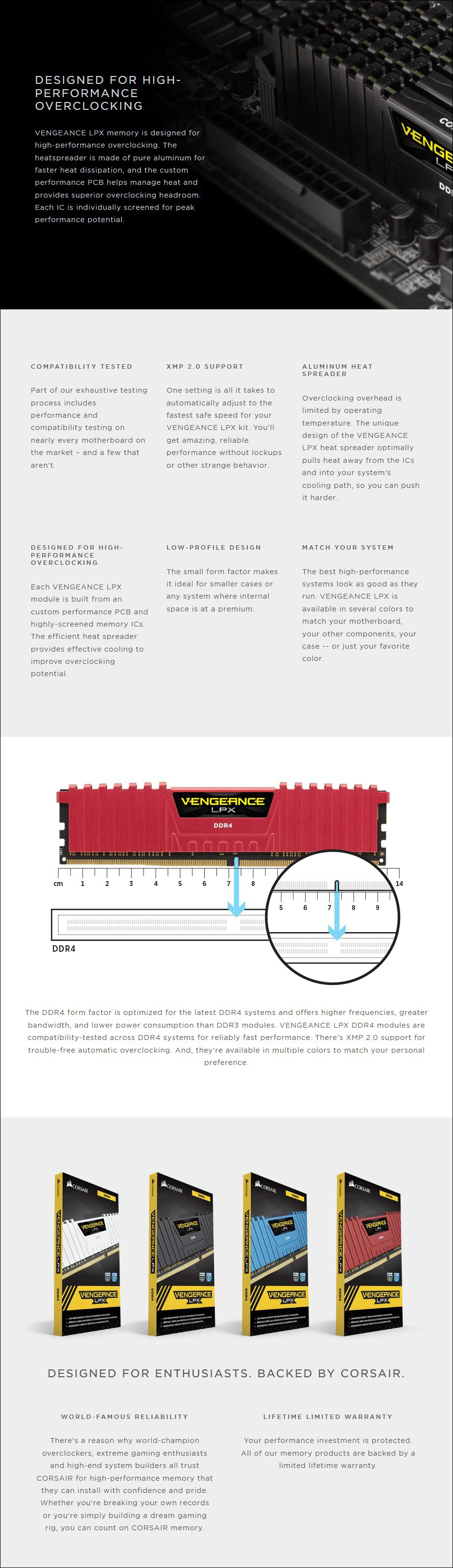 Corsair Vengeance LPX 16GB (2x 8GB) DDR4 3600MHz C19 Memory - Black - Overview 1
