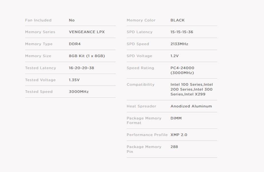 Corsair Vengeance LPX 8GB (1x 8GB) DDR4 3000MHz C16 Memory - Black - Overview 2
