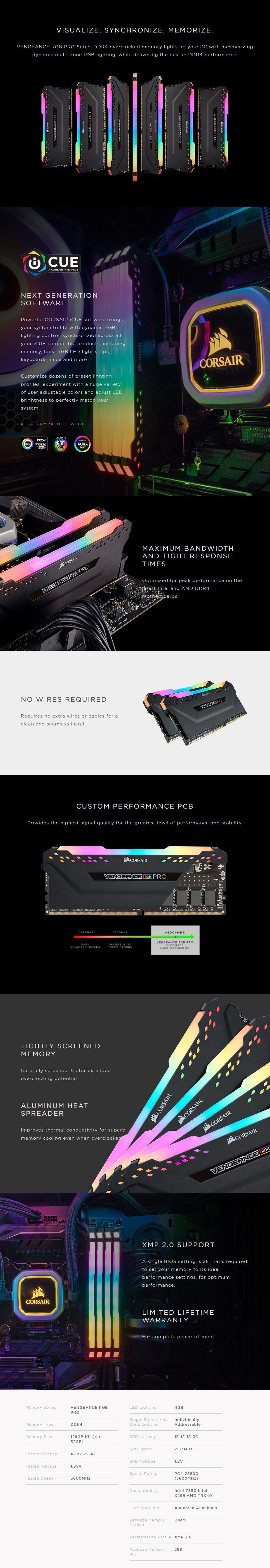 Corsair Vengeance RGB PRO 128GB (4x 32GB) DDR4 3600MHz Memory - Black - Overview 1