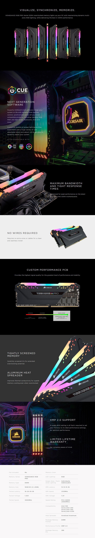 Corsair Vengeance RGB PRO 16GB (2x 8GB) DDR4 3000MHz CL16 Memory - Black - Overview 1