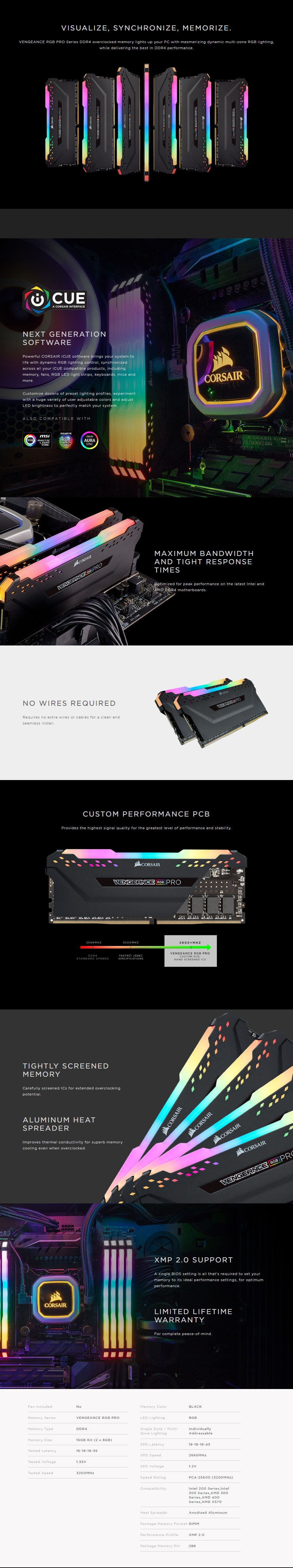 Corsair Vengeance RGB PRO 16GB (2x 8GB) DDR4 3200MHz Memory - Black - Overview 1