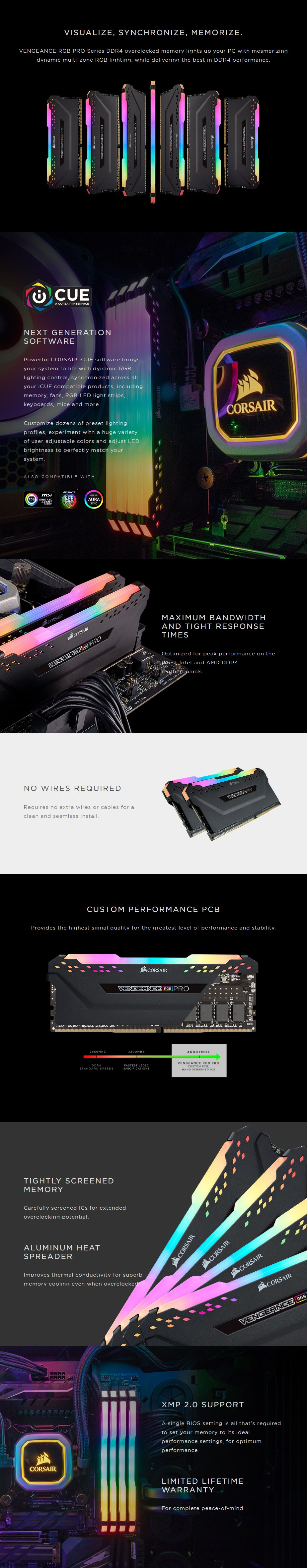 Corsair Vengeance RGB PRO 32GB (2x 16GB) DDR4 3200MHz Memory AMD - Black - Overview 1