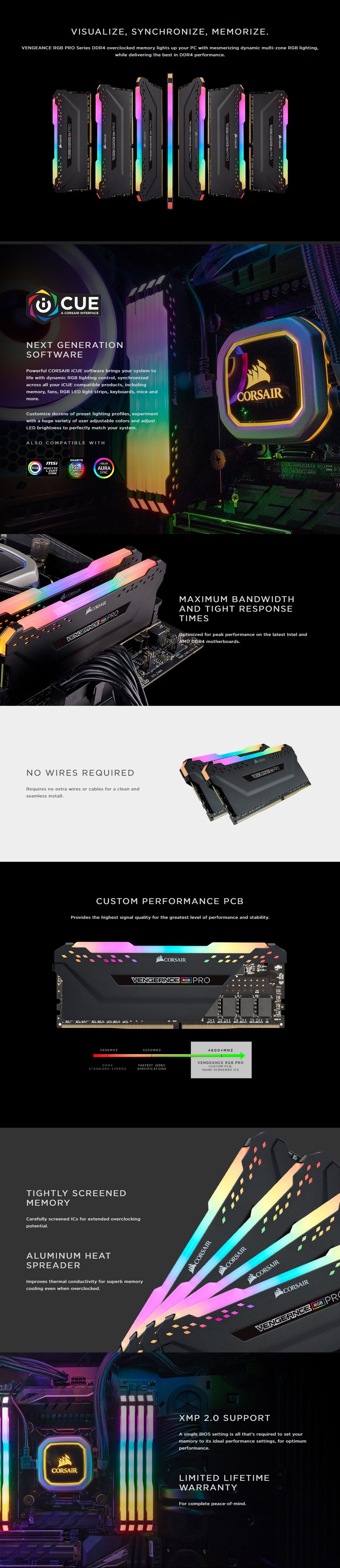 Corsair Vengeance RGB PRO 32GB (2x 16GB) DDR4 3200MHz Memory - Black  - Overview 1
