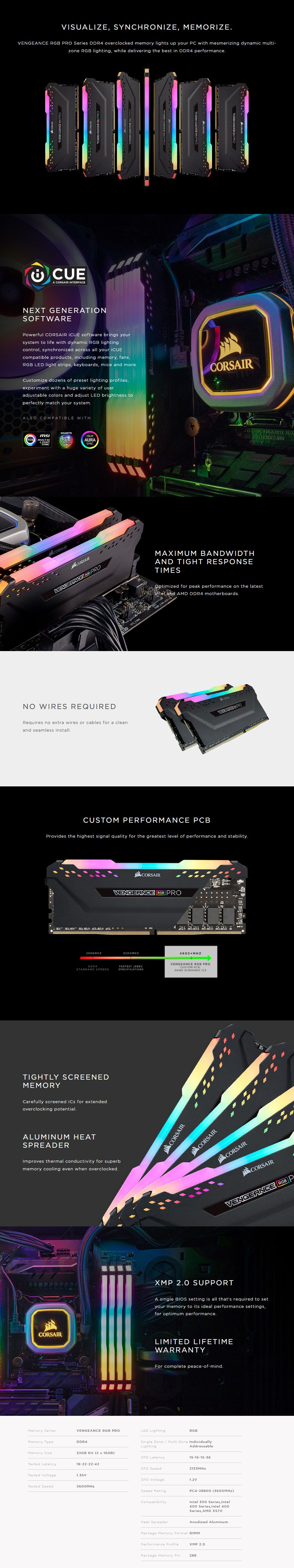 Corsair Vengeance RGB PRO 32GB (2x 16GB) DDR4 3600MHz CL18 Memory - Black - Overview 1
