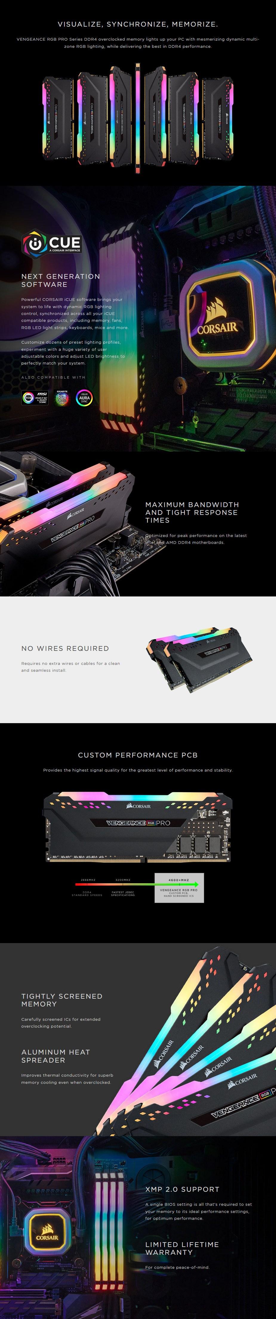 Corsair Vengeance RGB PRO 64GB (2x 32GB) DDR4 3200MHz Memory - Black - Overview 1